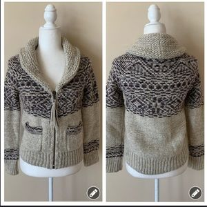 Wilfred free shawl neck intarsia zip sweater 4558
